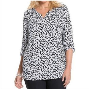 Lane Bryant | Black & White Hearts Blouse Sz 14/16
